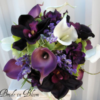 Wedding Bouquet real touch calla lily Bridal bouquet orchid plum lilac purple bridal flowers