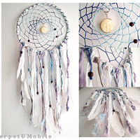 Dream Catcher - White Moon - With Moon Amulet, Natural White Swan Feathers, Lace and Textiles - Home Decor, Mobile