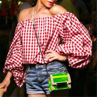 Women's Fashion Plaid Long Sleeve T-shirts [9753223439]