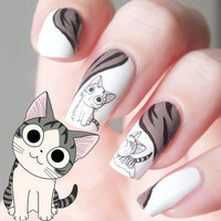 1Pc Happy Cute Cat Pattern Nail Art Water Decals Transfers Sticker (Size: 6cm by 5cm) = 1929981508