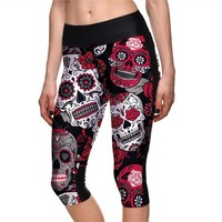 Popular High Waist Women Mid-Calf Leggings Sexy Girls Fitness Yoga Cropped Trousers Elastic Red Skeleton Breathable Capris S-4XL