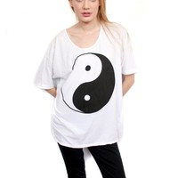 Yin yang slouchy white OR black tshirt One Size