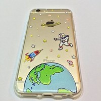 iPhone 6 Case, DECO FAIRY® Protective Case Bumper[Scratch-Resistant] [Perfect Fit] Ultra Slim Translucent Silicone Clear Case Gel Cover for Apple iPhone 6 (cartoon space)