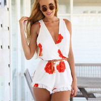 White Floral V-Neck Chiffon Sleeveless Romper with Ruffled Bottom