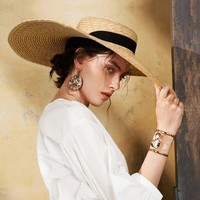Summer Boater Hats for Women Wheat Straw Beach Hat with Wide Brim Hat with Ribbon Tie-671073