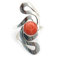 Coral sterling silver ring | Pink ring | Silver jewelry | Silver stone ring | Coral ring | Stamped ring | Sterling Silver Rings Shop | 0201