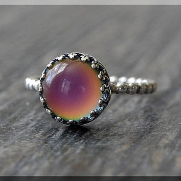 Sterling Silver Mood Ring, Stacking Ring, Emotion ring, Stackable Color Changing Ring, Silver Mood Change ring, Psychedelic Mood Ring