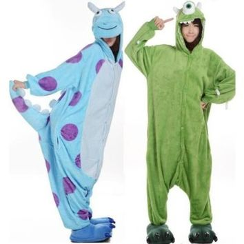 Ghope Adult Monsters University Mike Wazowski&sulley Costume Pajamas Cosplay Onesuit Sulley M Size