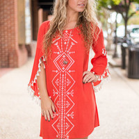 Bold Reflection Dress, Rust