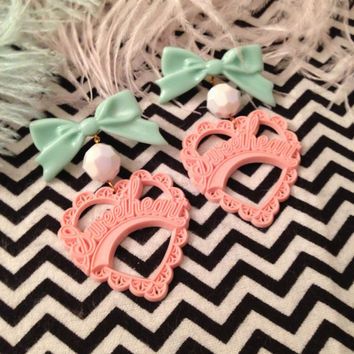Pink and Mint Sweetheart Earrings