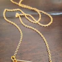 Beautiful delicate bar charm necklace Gold plated necklace Dainty jewelry Silver necklace