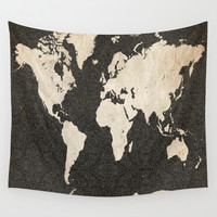 World Map - Ink lines Wall Tapestry by Map Map Maps