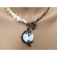 Handmade Mother of Pearl Bridal Statement Necklace