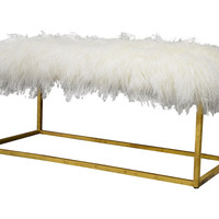 "Block 40"" Sheepskin Bench, Ivory/Gold, Entryway Bench, Bedroom Bench"