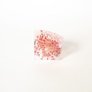 REAL FLOWER resin RING. Pink Queen Anne's Lace botanical ring