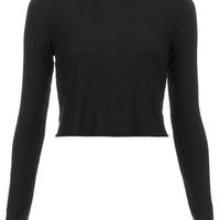TALL Long Sleeve Ribbed Crop Top - Black