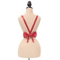 Red Vegan Leather Body Harness w/Bow