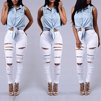 Women Denim Skinny Ripped Pants Hole Stretch Sexy Ripped Jeans High Waist Long White Black Pencil Trousers