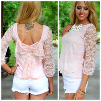 Lacy Days of Summer Pink Lace Bow Back Top