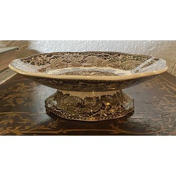 Mason's Vista English Ironstone Brown Transferware Pedestal Compote Castle Gardens