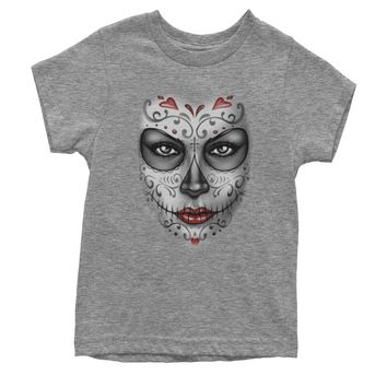 Large Day Of The Dead Face Youth T-shirt