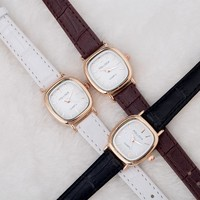 Luxury Vintage Small Dial Mini Watch Genuine Leather Black Brown Quartz Dress Wrist Watch Wristwatches for Women Students OP001