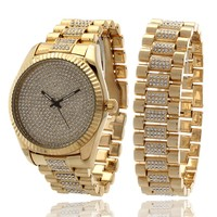 14K Gold Watch and Rolex Bracelet Bling Set | Hip Hop Watches | King Ice