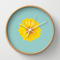 Watercolor Sunny Day flower Wall Clock by 83oranges.com