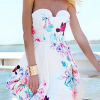 White Floral Tube Top Open Back Mini Dress