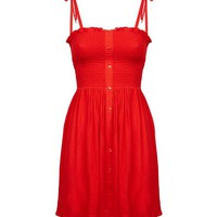 Petite Red Shirred Sundress | New Look
