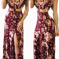 Sleeveless Floral Printed Crop Top and Front Slit Maxi Dress