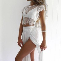 White Two Pieces Maxi Dress Prom Dress Romantic Summer Lace Maxi Skirt