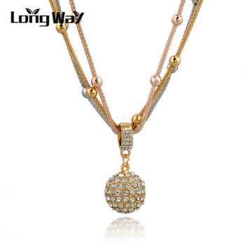 Free Shipping 2014 Hot Sale Women Long Necklace Gold Plated Chain Necklace Full Rhinestone Ball Pendant Necklace SNE140451