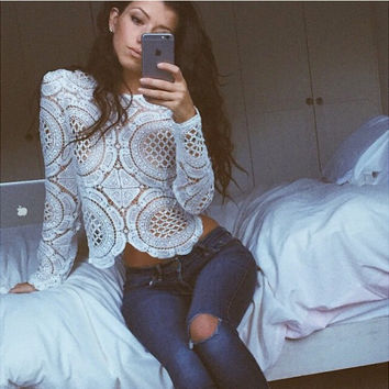 Cropped Crochet Blouse in White or Black