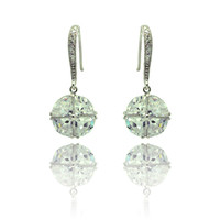 Sterling Silver Crystal Cricle  Dangling Hook Earrings