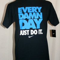 Nike EVERY DAMN DAY JUST DO IT Obsidian/Blue-White 401980-452 Mens Tshirt NWT