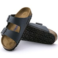 Sale Birkenstock Arizona Soft Footbed Birkibuc Basalt 52873 Sandals