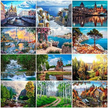 AZQSD Landscape DIY Painting By Numbers Modern Wall Art Picture Acrylic Coloring City Paint On Canvas For Home Decors Artwork
