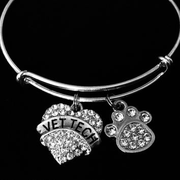 Vet Tech Jewelry Paw Print Expandable Charm Bracelet Adjustable Silver Wire Bangle Veterinarian One Size Fits All Gift Animal Doctor