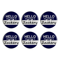 Zackery Hello My Name Is Plastic Resin Button Set of 6