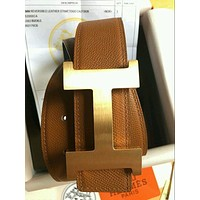 @Brand New Authentic Hermes Brown 110CM/38MM Belt 2H Golden-Sliver Buckle