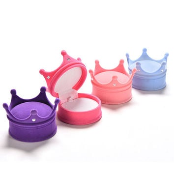 Lovely Princess Crown Shape Jewelry Box Cosmetic Cases Storage Boxes For Necklace ring earring 4colors Wedding Gift Box SM6