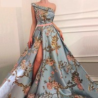 Sleeveless One-Shoulder Sexy With Diamond Embroidery Royal Evening Dress Ball Gown