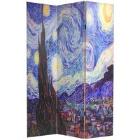Double Sided 3-Panel Room Divider with Van Gogh Starry Night & Sunflowers