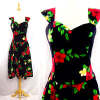 Vintage 90s ROYAL CREATIONS Hawaii Floral Cocktail Party Rockabilly Dress