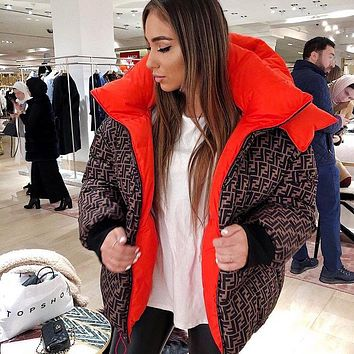Fendi new men's and women's double F printed letters on both sides wear hooded down padded jacket