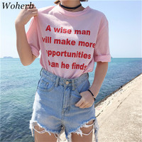 Letter Print t-shirt Plus Size  New Fashion Women Pink T shirts Casual Women Short Sleeve O-neck Tops 72677 GS