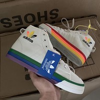 Adidas rainbow high-top men's and women's sneakers shoes