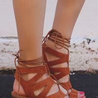 Up Your Game Heeled Sandals - Whiskey