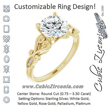Cubic Zirconia Engagement Ring- The Annika (Customizable 7-stone Design with Round Cut Center Plus Sculptural Band and Filigree)